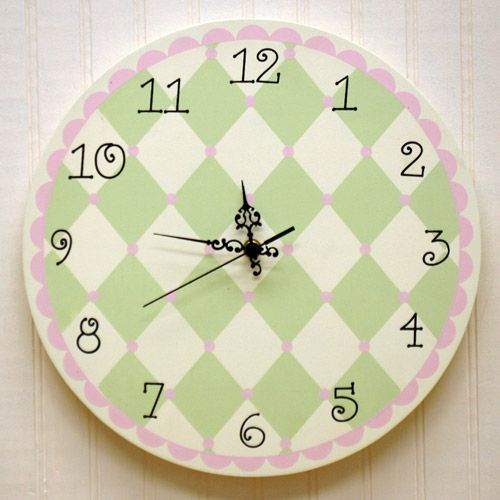 Pink and Green Harlequin Wall Clock @PoshTots | Color Trend: Pink ...