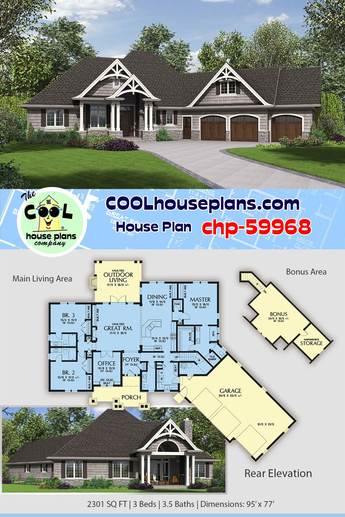Craftsman Style House Plan 81218 With 3 Bed 4 Bath 3 Car Garage Craftsman House Plans Craftsman Style House Plans Craftsman Floor Plans