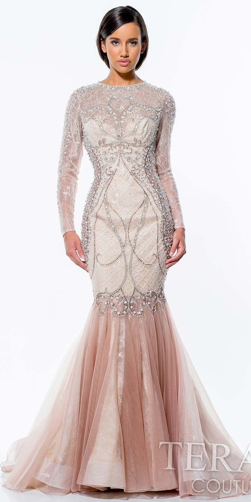 Sheer Long Sleeve Evening Gown by Terani Couture $1,386 | Maeid ...