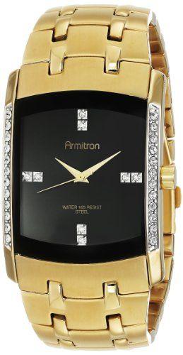 Armitron Herren 20/4541BKGP Swarovski Crystal Accented Gold-Tone Bracelet Armbanduhr