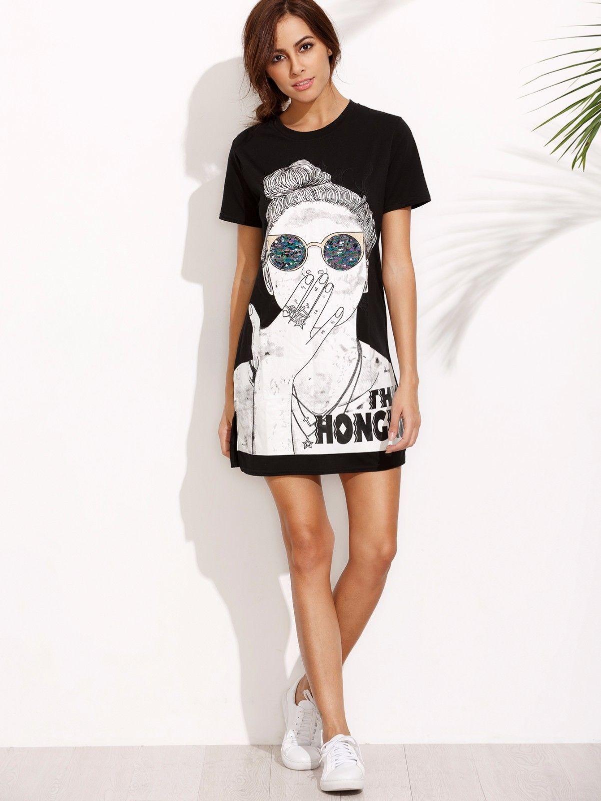 Ladies Black Print Split Side T-Shirt Short Sleeve Mini Dress Casual Tunic Top | eBay