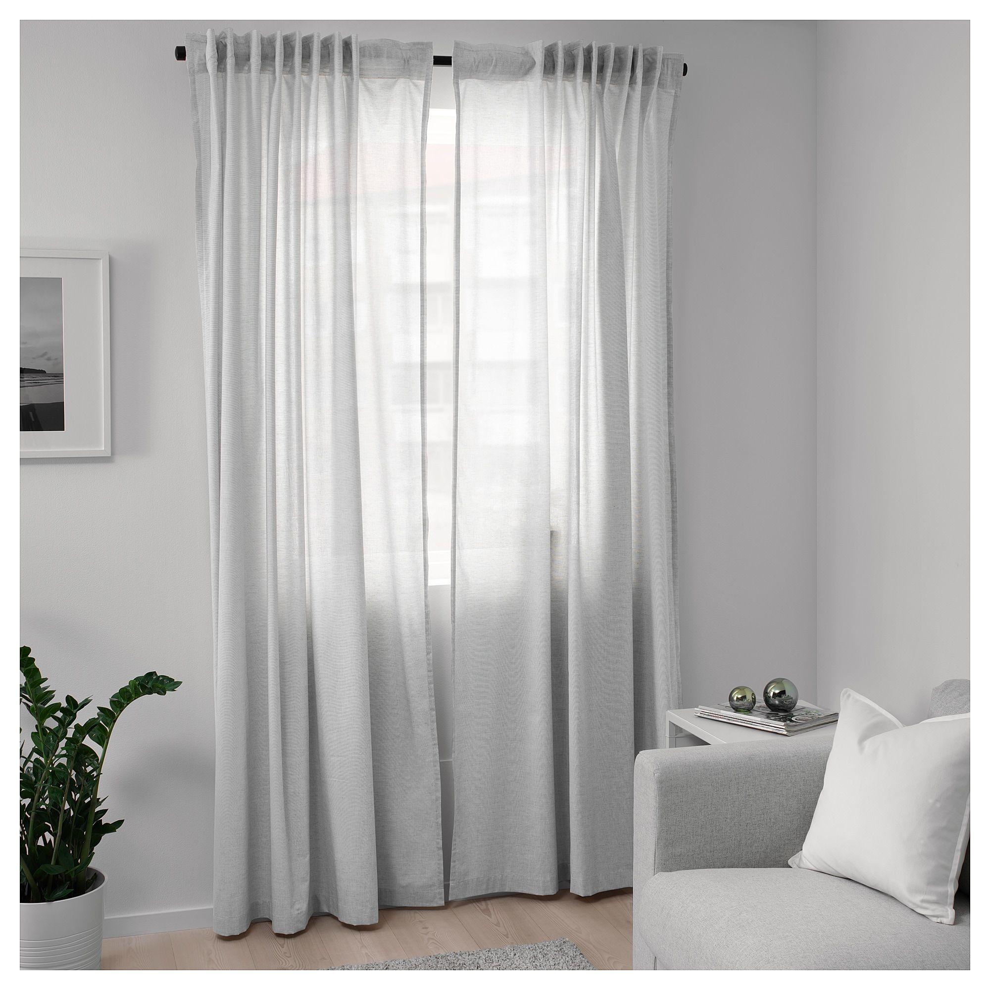 Hannalill Curtains 1 Pair Gray 57x98 Ikea Living Room Decor Curtains Light Green Curtains Curtains