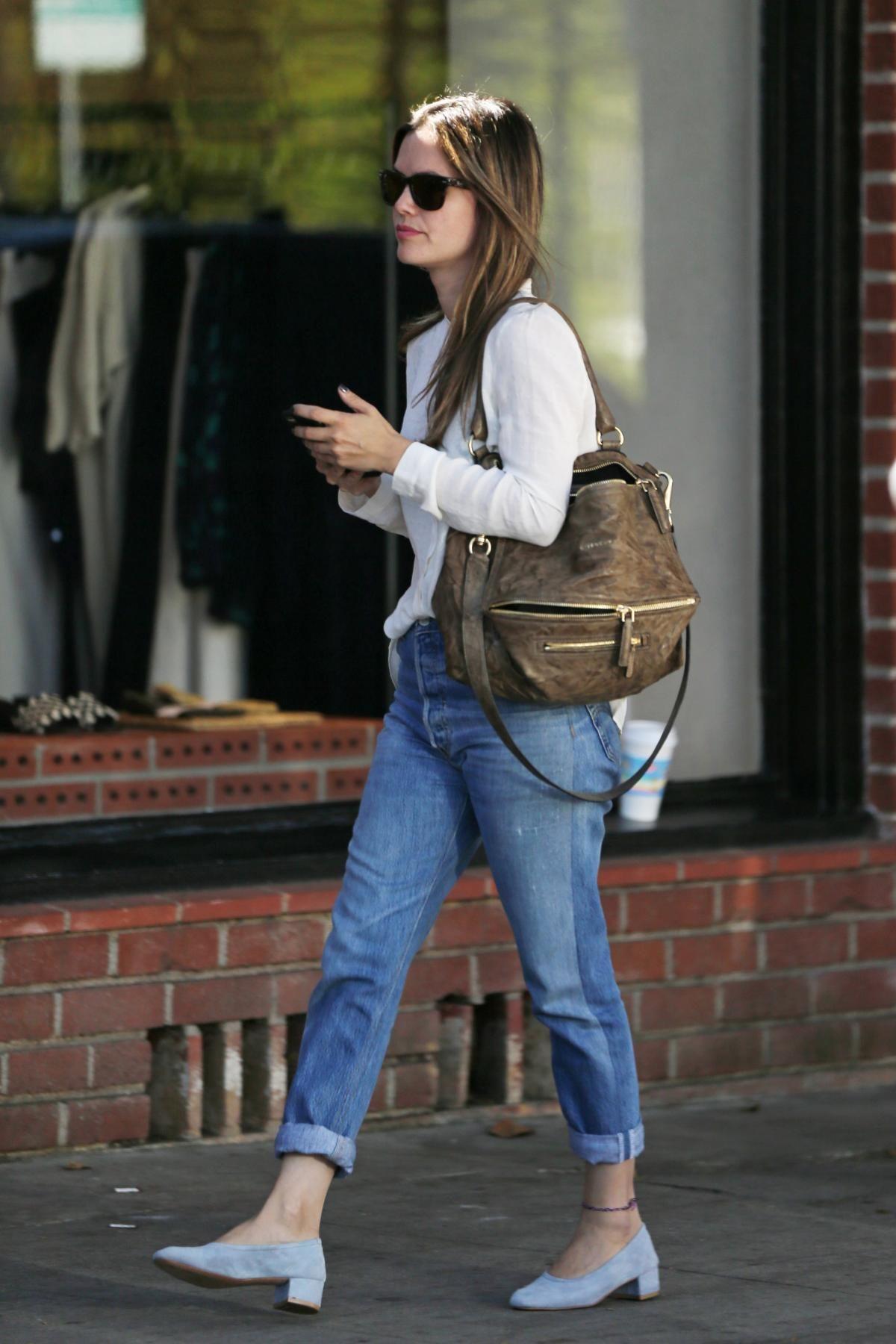 b1f3cd281ed3 Rachel Bilson wearing Givenchy Pandora Bag and Ray-Ban Rb4105 710 Wayfarer  Folding Classic Sunglasses