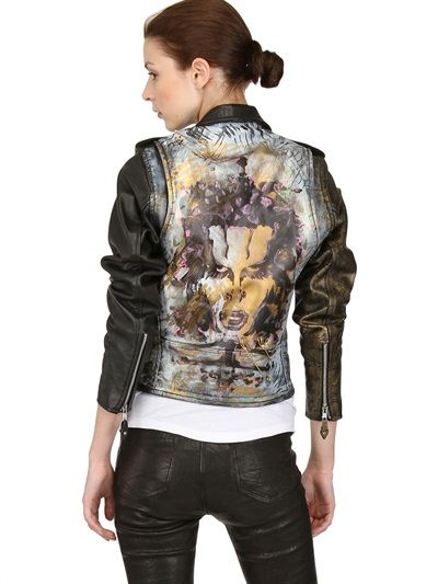 KIN AND GIN - HAND-PRINTED SMOOTH LEATHER BIKER JACKET -