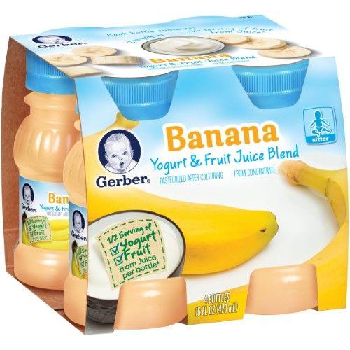 Gerber Yogurt Juice Banana Yogurt And Fruit Juices 4 Ounce Each Pack Of 6 Gerber Baby Food Baby Food Recipes Baby Drinks