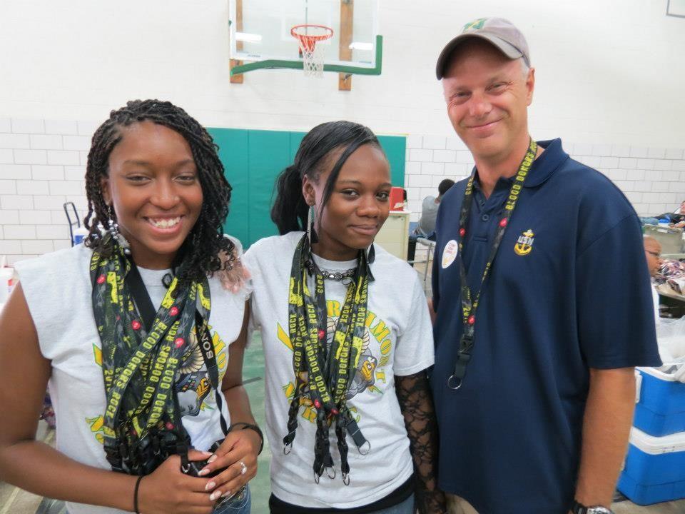 ROTC volunteers Alexus Swindle, Jasmine Pennis and supervisor/blood drive chairman Jim Griffin. — with Alexus Swindle at Northmont City Schools.
