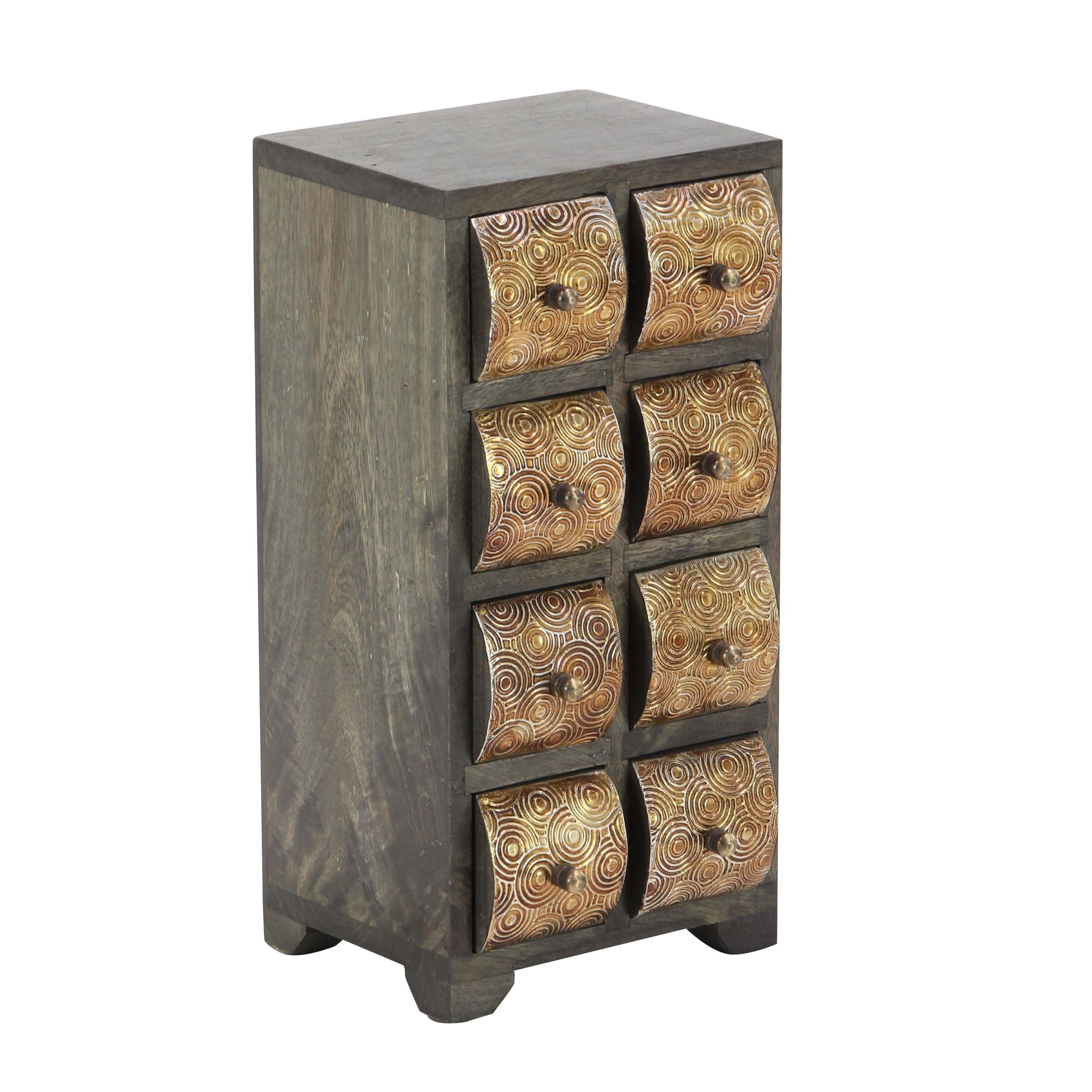 Studio 350 Rustic Mango Curved Paneled 8Drawer Vertical Jewelry
