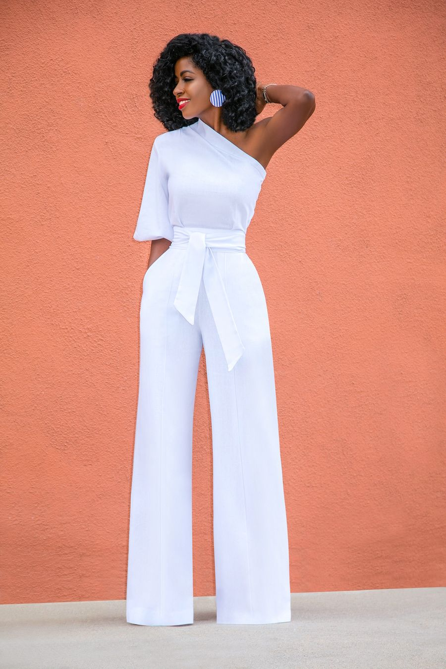 Style Pantry   One Shoulder White Jumpsuit   Fancy ...