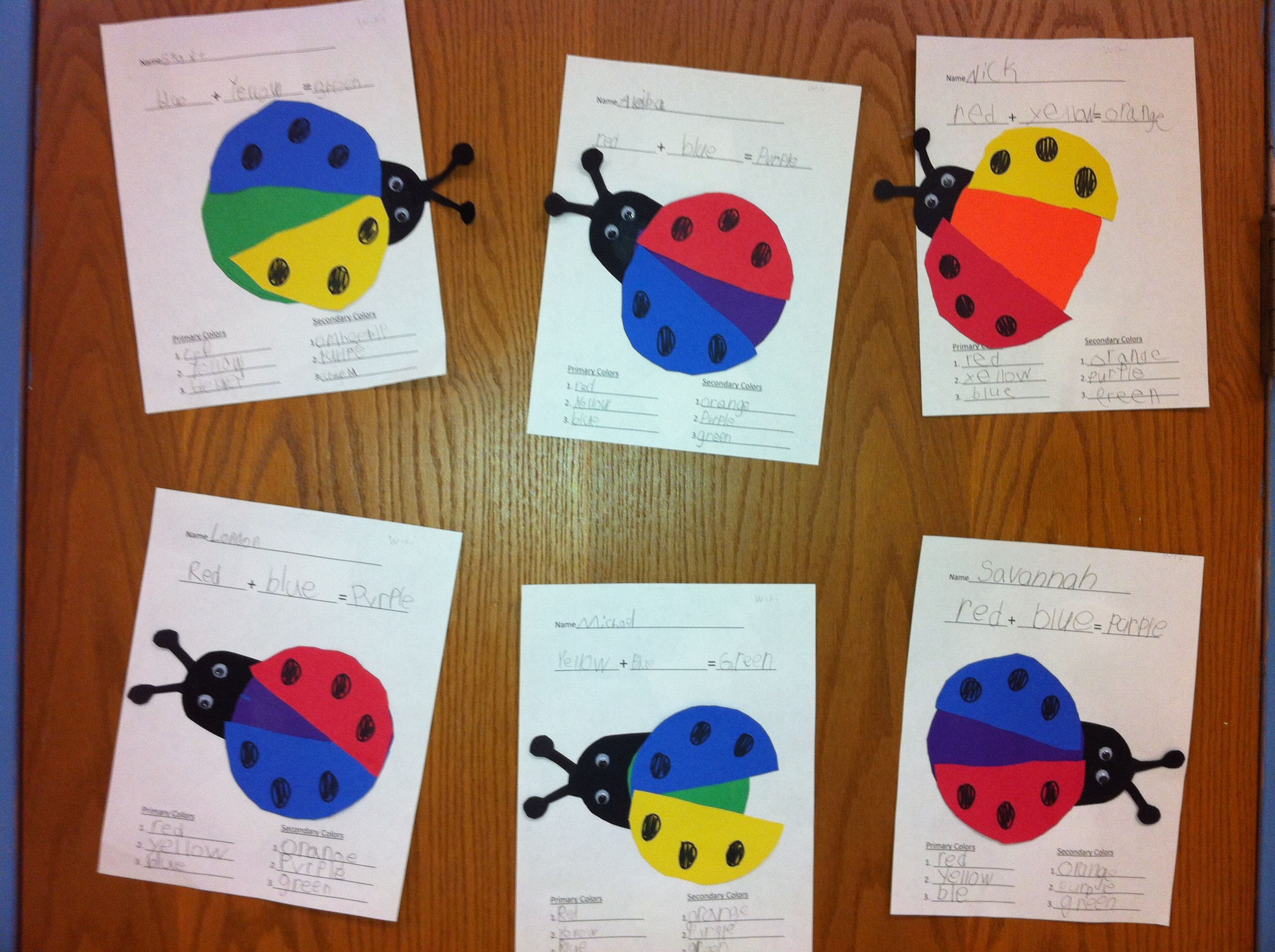 Color Bugs Mixing Colors 1st Grade Art Teacher V Giannetto