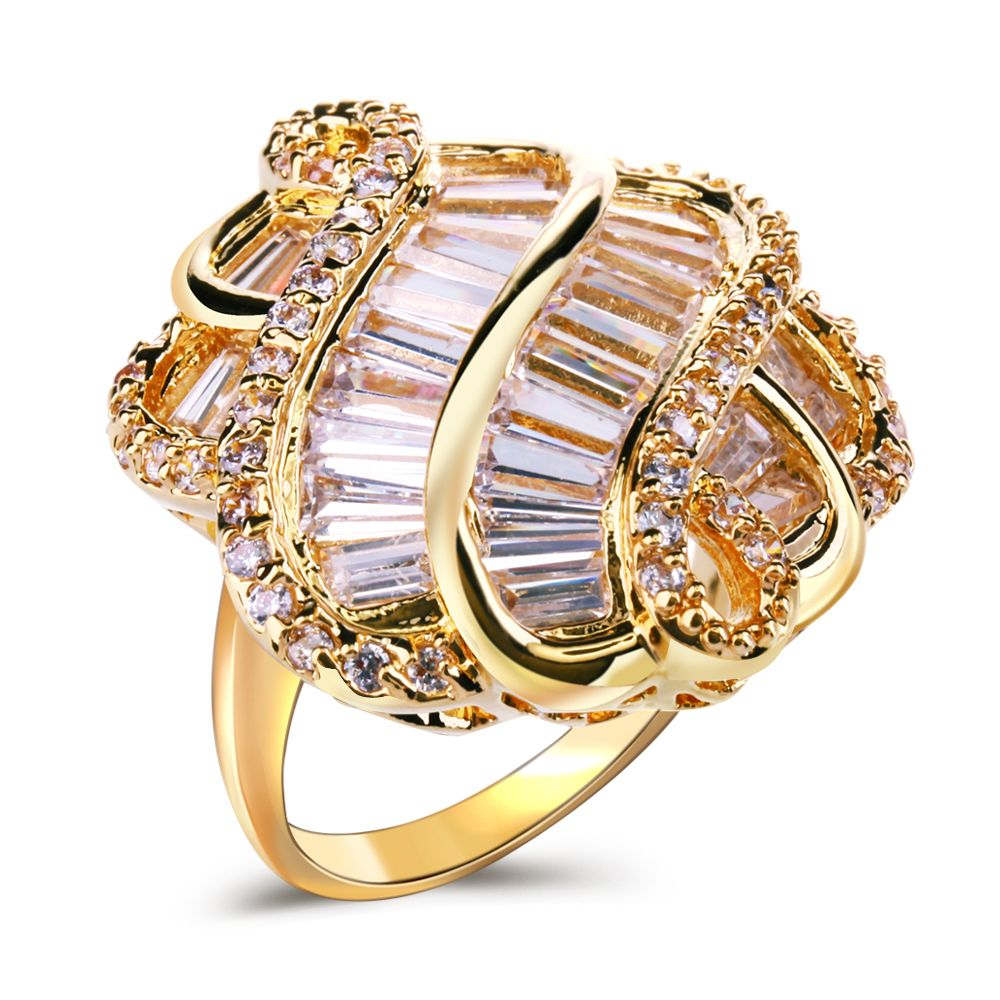 Large Gold and white color Rings New Arrival Trendy Ring for party ...