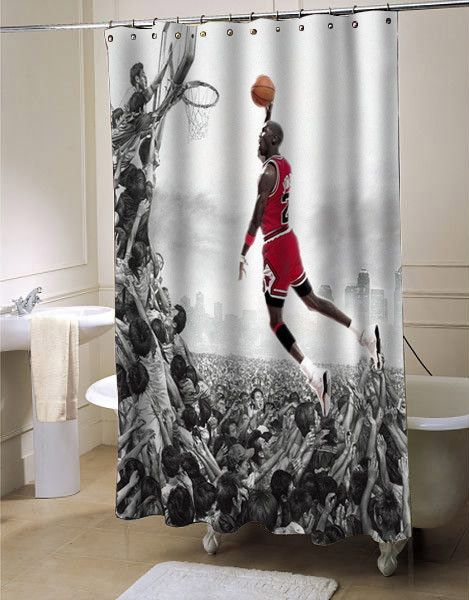 Michael Jordan Fly Shower Curtain Showercurtain Showercurtains Curtains Bath Bathroom Funnycurtain Cutecurtain