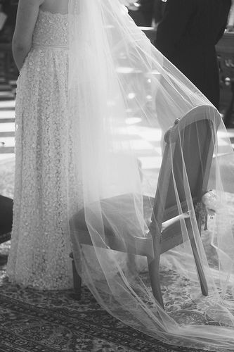 black and white veil #wedding #church #bride
