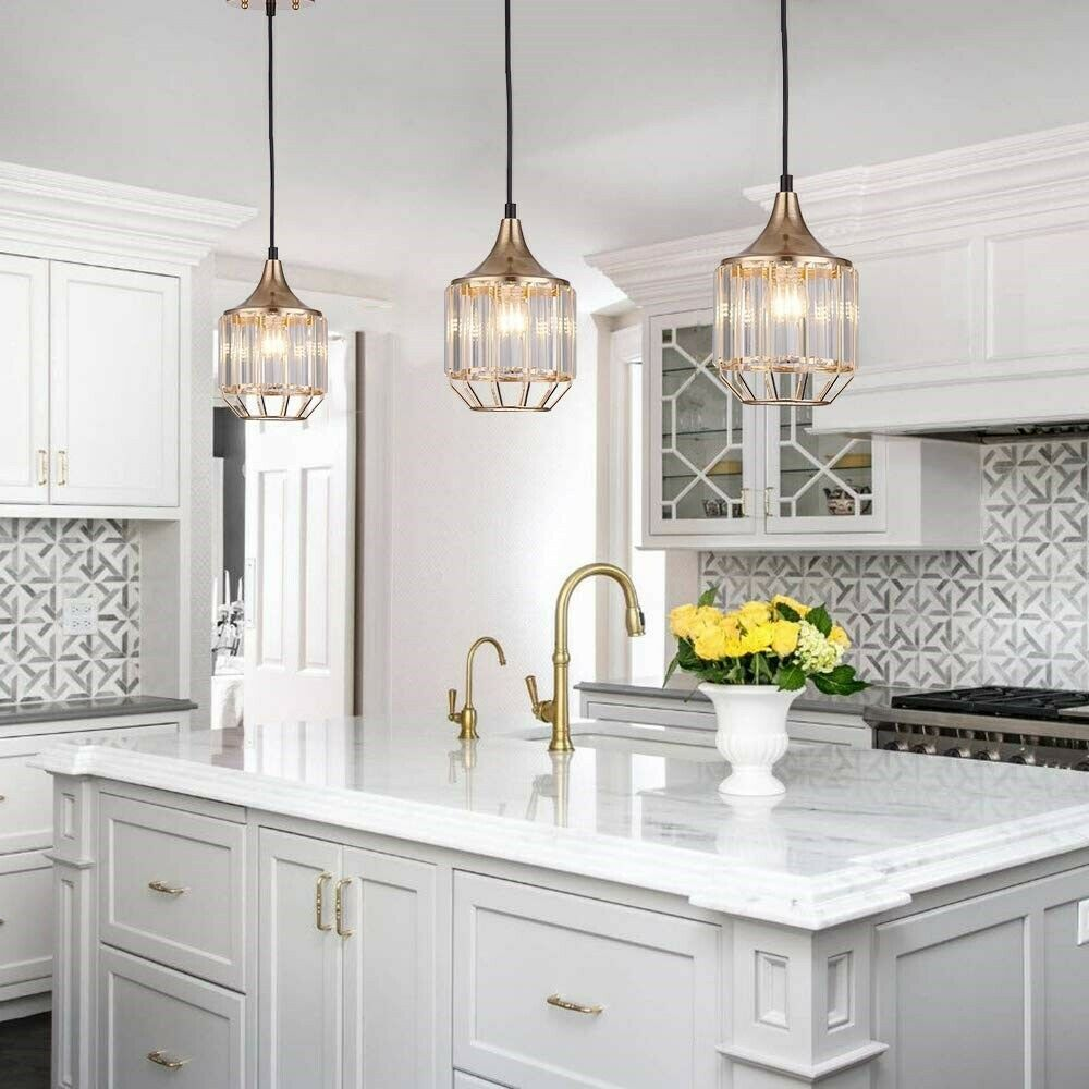 Kitchen Island Pendant Lights Fixture Modern Crystal Hanging Ceiling Set 3 Caged Kitchen Island Lighting Pendant Island Pendant Lights Kitchen Pendant Lighting