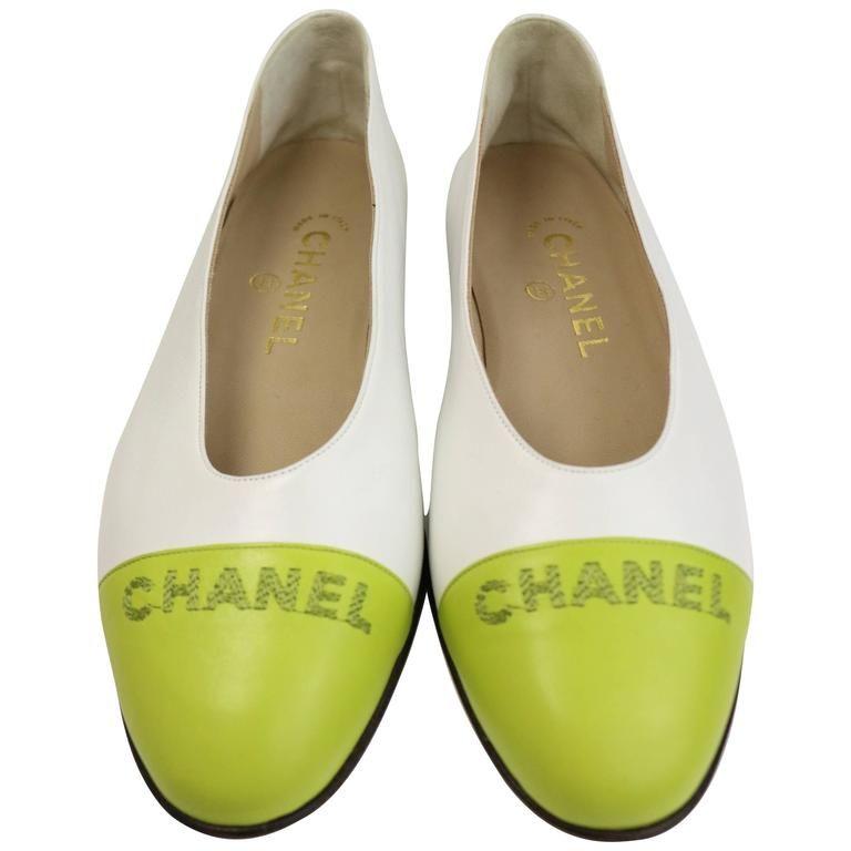 Chanel Bi Tones White/Green Leather Flats 1990