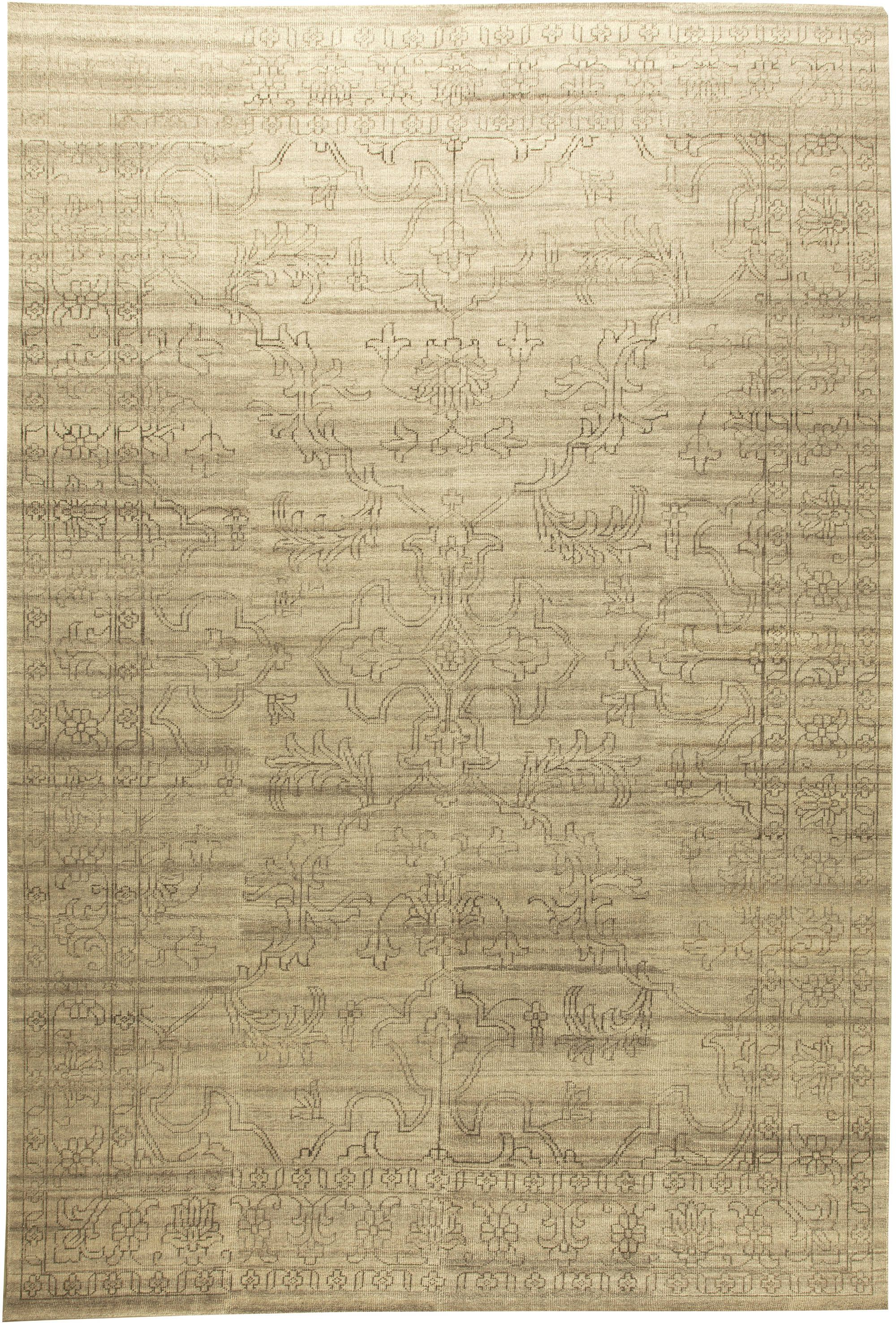 Contemporary Traditional Oriental Inspired Beige Wool Rug
