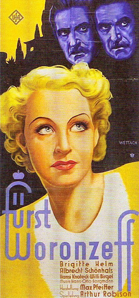 Filmplakat, Brigitte Helm Fürst Woronzeff  1934.