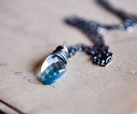 Blue Topaz Necklace Sky Blue Silver December Pendant by PoleStar, $58.00