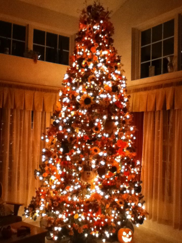 Christmas Tree Decorated For Fall Just Cover It With Leaves Orange Lights And All Kinds Of Stuff