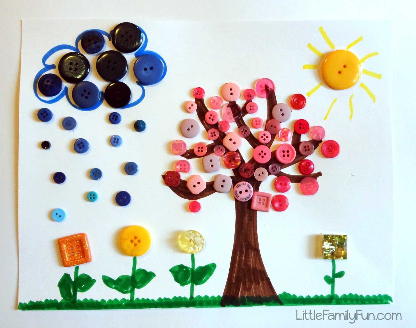 Little Family Fun Spring Button Craft For Kids Pick Buttons All One Color To Show Which Is Or Have Them Say The Colors While Putting