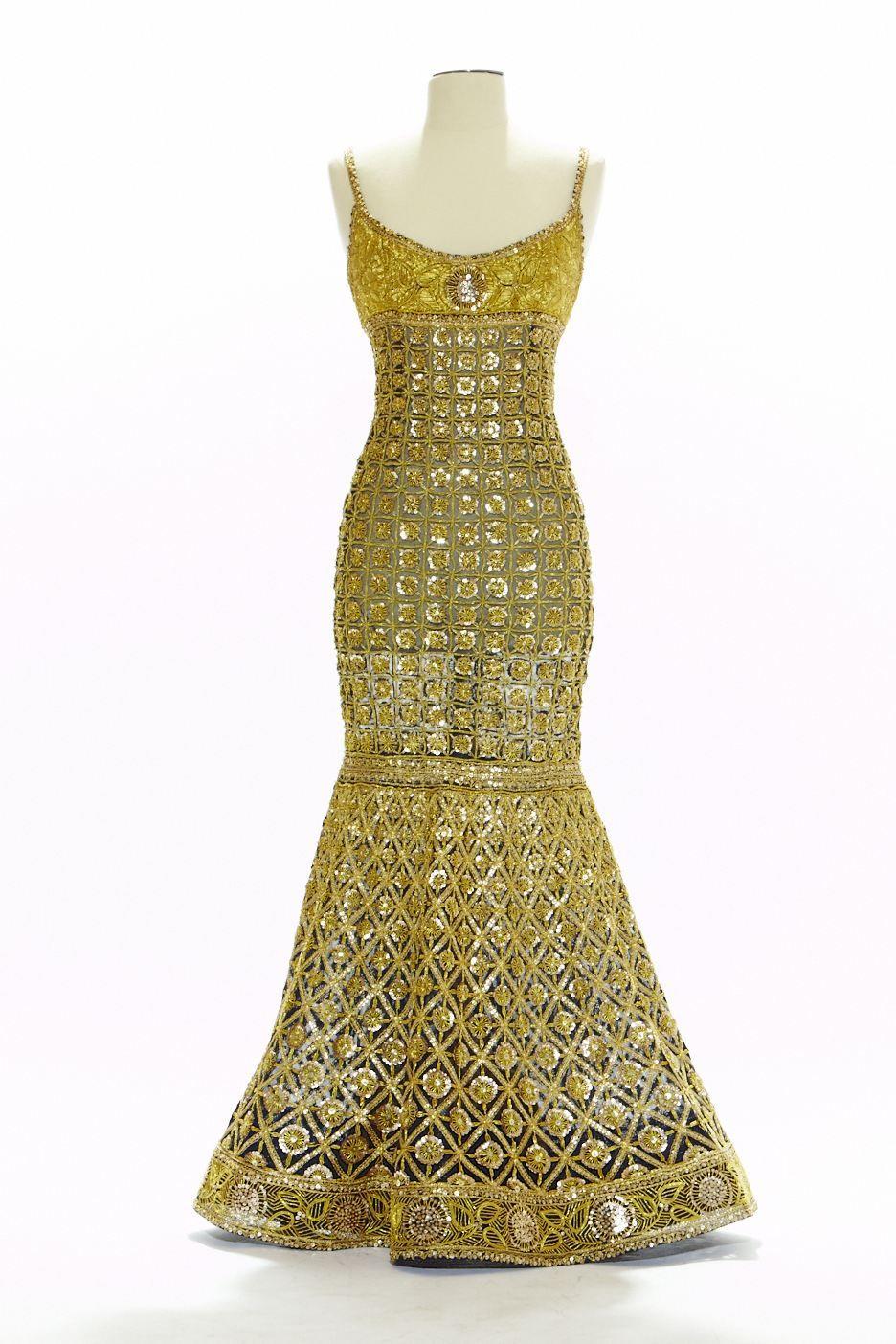 KARL LAGERFELD GOLD COROMANDEL DRESS DONATION BY MOUNA AYOUB TO THE MUSEE DE LA MODE ET DES ARTS DECORATIFS PARIS