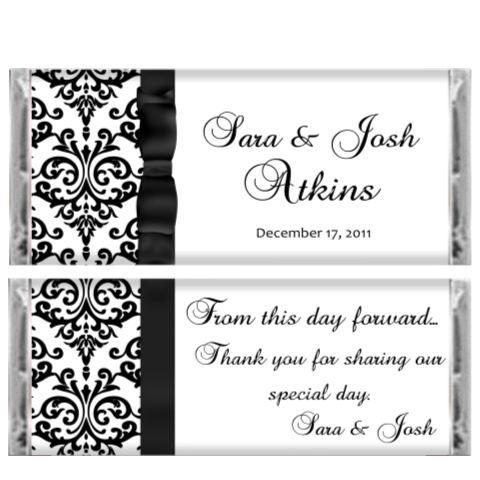 Black Tie Damask Wedding Candy Bar Wrer Reception Favor