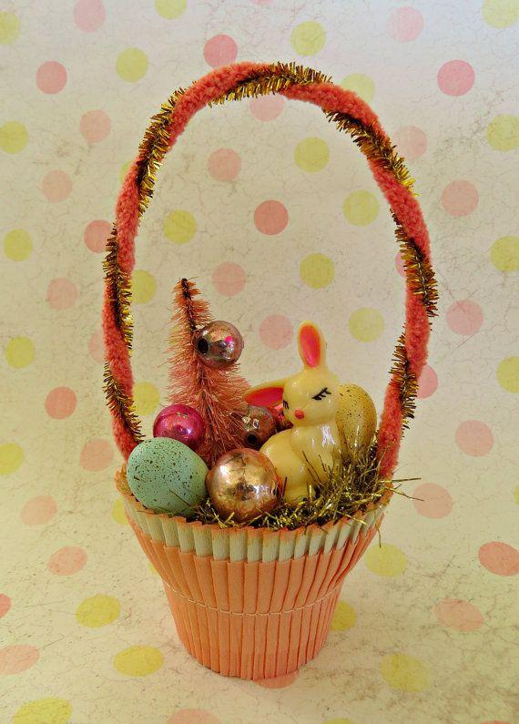 Vintage Spring Easter Bunny Basket Ornament OOAK by Dimestorechic