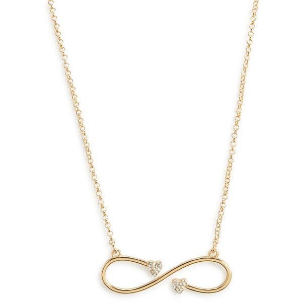 Aeropostale Infinity Heart Short-Strand Necklace ($6) ❤ liked on Polyvore featuring jewelry, necklaces, gold, heart necklace, aéropostale, druzy necklace, strand necklace and short necklace