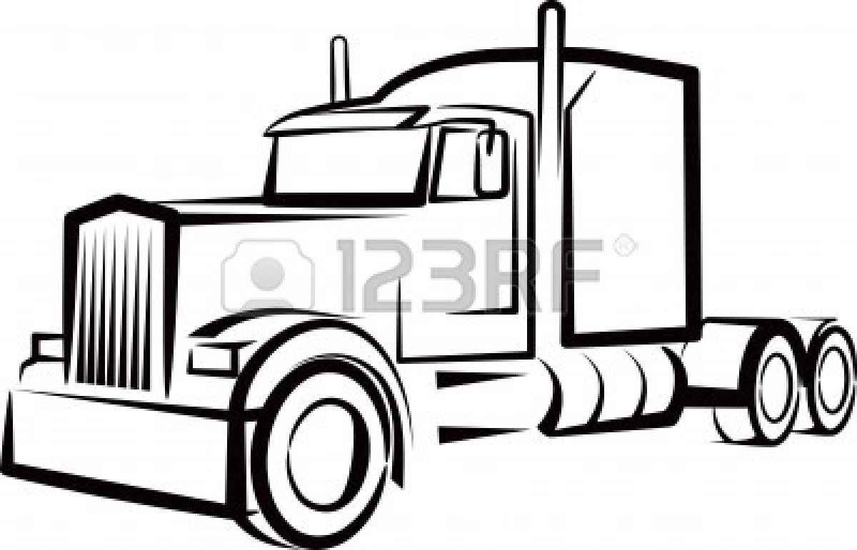Semi Truck Outline For A Shirt Truck Tattoo Truck Coloring