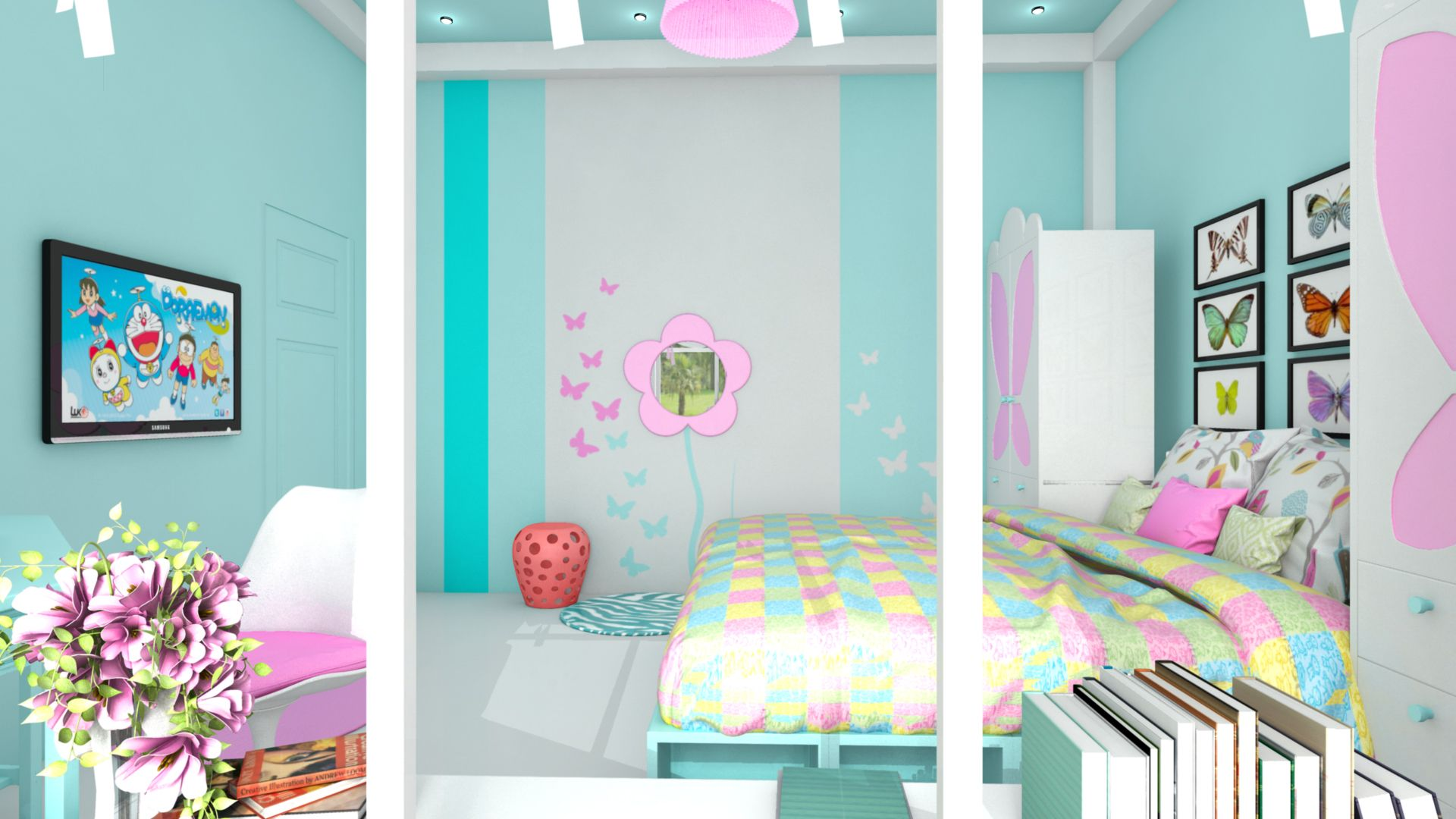 Description: Girly bedroom for a 10 year old twins.