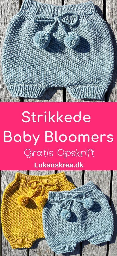 Strikkede Baby Bloomers – Luksuskrea – Hækling og strik