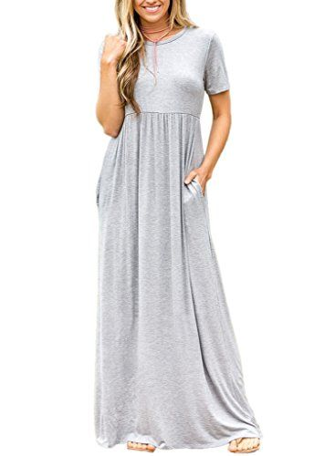 75012f0b6c1a Dearlovers Women Short Sleeve Loose Plain Long Maxi Casual Dress With  Pockets