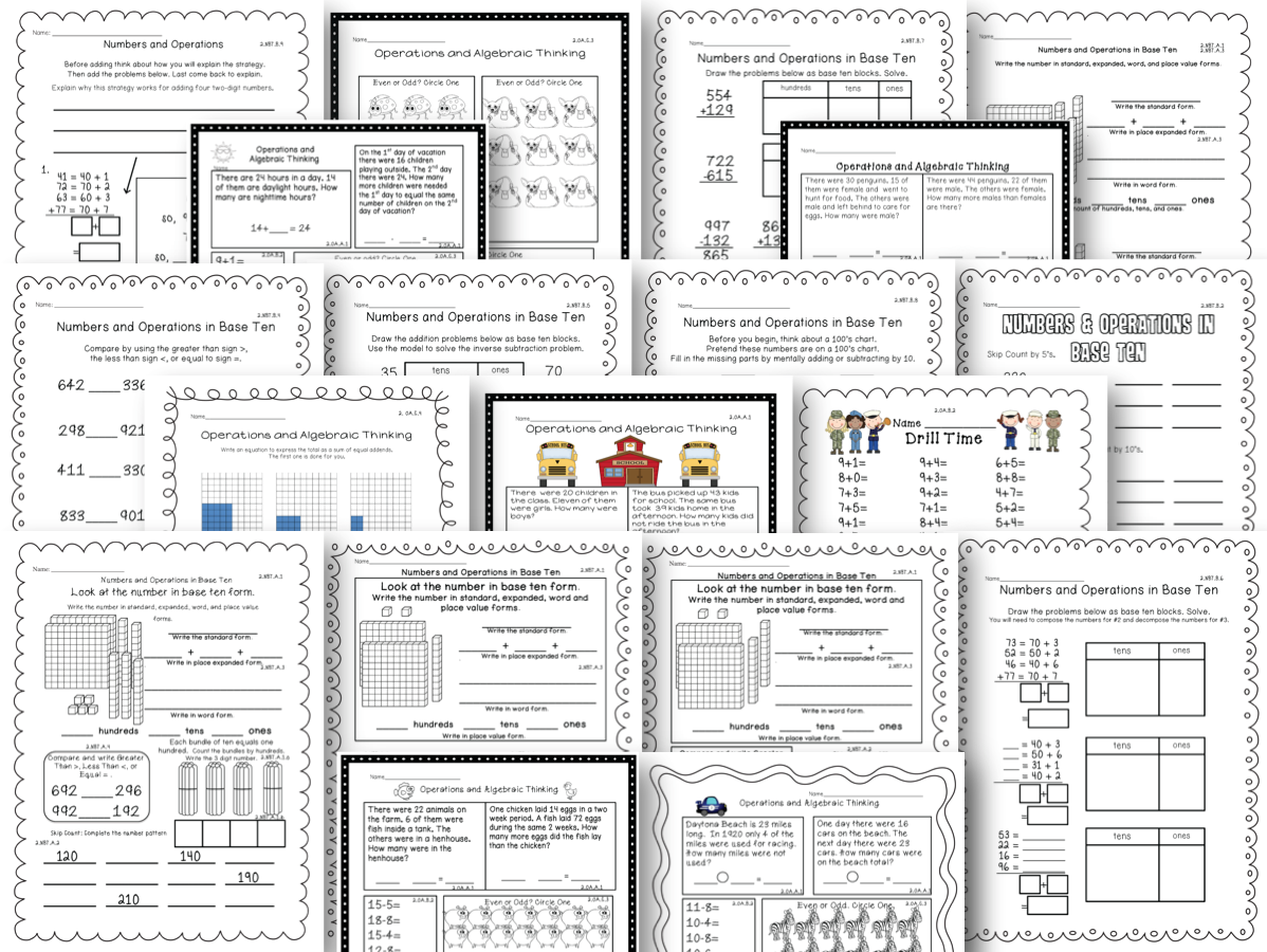 2nd Grade Common Core Standards Math Assessments Second 100 Aligned