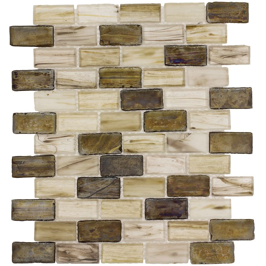 Shop Elida Ceramica Melted Earth Beige Subway Mosaic Glass Wall Tile Common 12