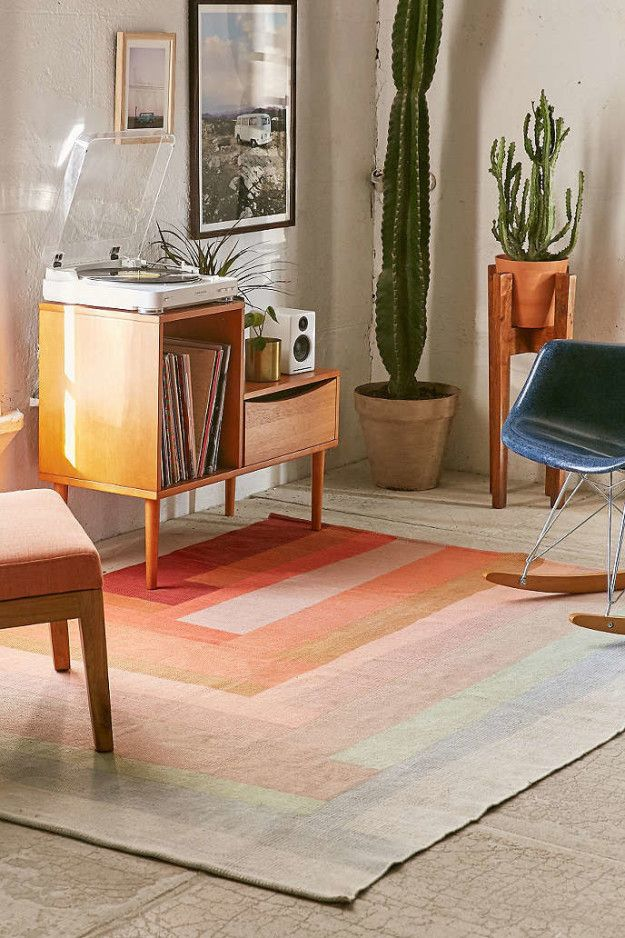 A 70's inspired patchwork rug that's ready to rock your apartment.