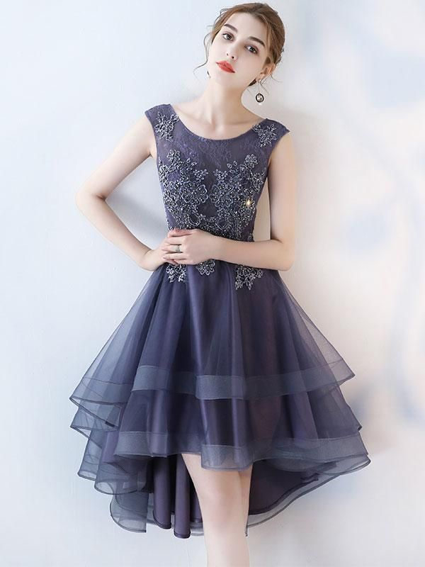 A-line Scoop Neck Dark Grey Lace High Low Prom Dresses APD2763