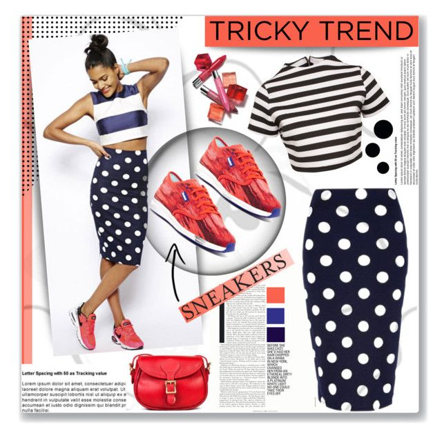 """Tricky Trend: Pencil Skirts and Sneakers"" by sarah-crotty ❤ liked on Polyvore featuring River Island, Reebok, Glamorous and Clinique"