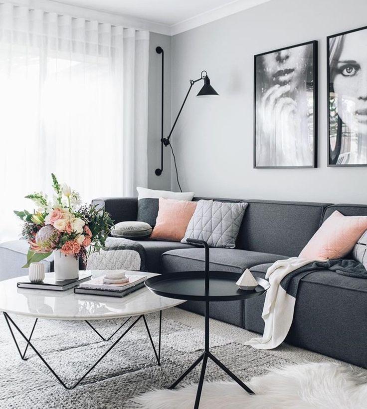 Wohnzimmer #gemütlich #hell #weiß #grau #schwarz #Metall - wohnzimmer design schwarz