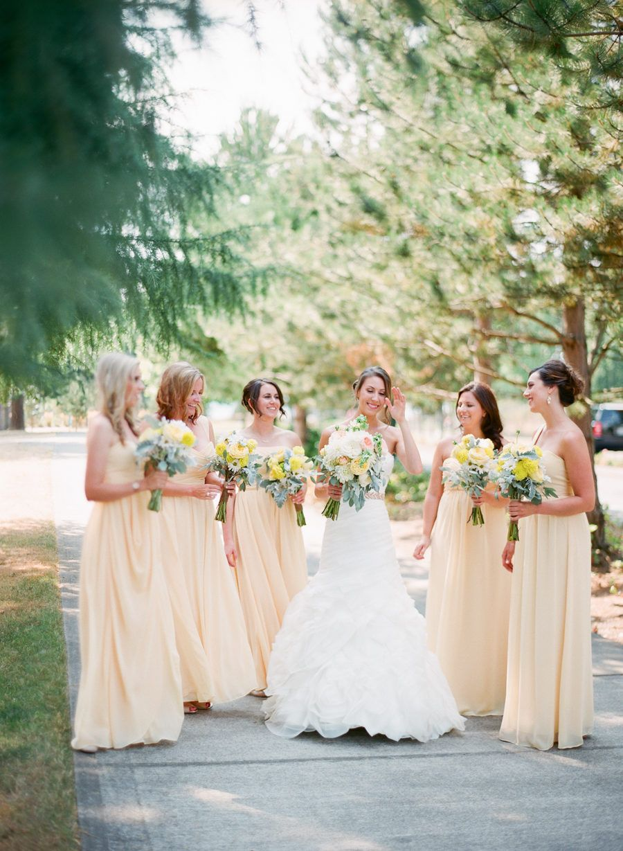 Yellow And Green Summer Chambers Bay Wedding In 2020 Pale Yellow Bridesmaid Dresses Pale Yellow Weddings Yellow Bridesmaid Dresses