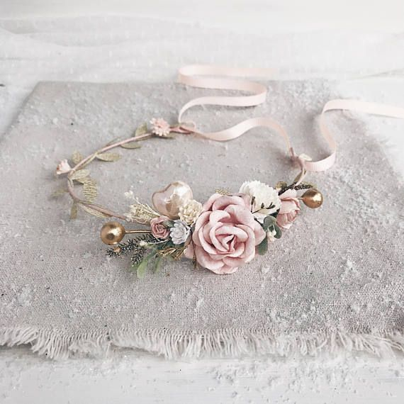 Mommy and me Flower crown Set Blush pink Ivory Floral crown Kids flower crown Baby Headpiece Girl Wedding Hairpiece