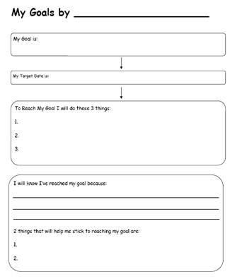 Printable Worksheets for Back to School Goal Setting Goal charts - goal setting template