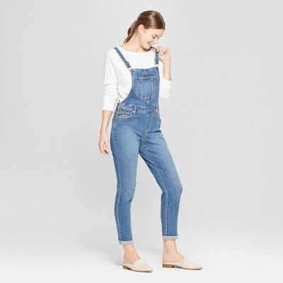 6d27684a786 Women s Mid-Rise Wide Leg Denim Overalls - Universal Thread Medium Wash 12