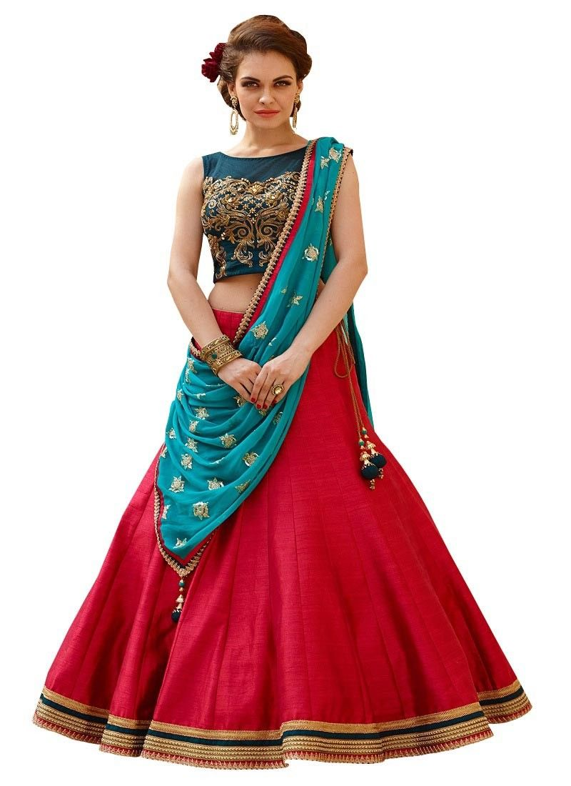 b4247ea54 Poly+Silk+Lace+Work+Plain+Red+Semi+Stitched+Lehenga+-+L19 at Rs 1999
