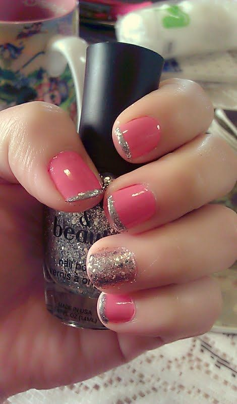 Pink With Silver Accent Nail 3 Cute Nail Designs Pinterest