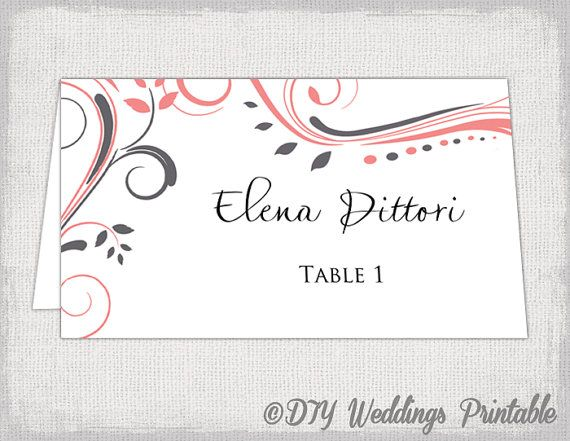 Printable Place Cards Template Charcoal Gray And Coral Scroll Name - Downloadable place card template