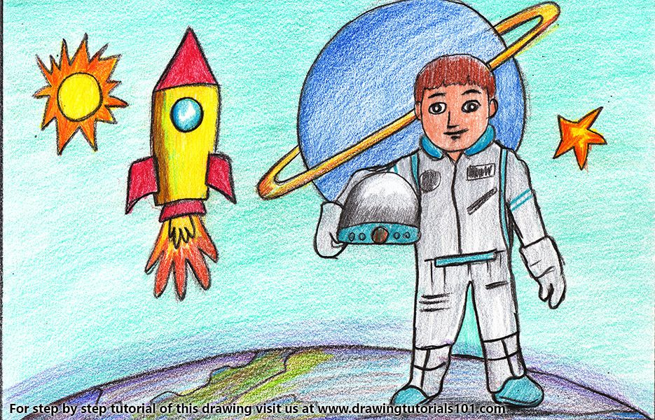 Astronaut in Space Scene | Colorful drawings, Easy drawings