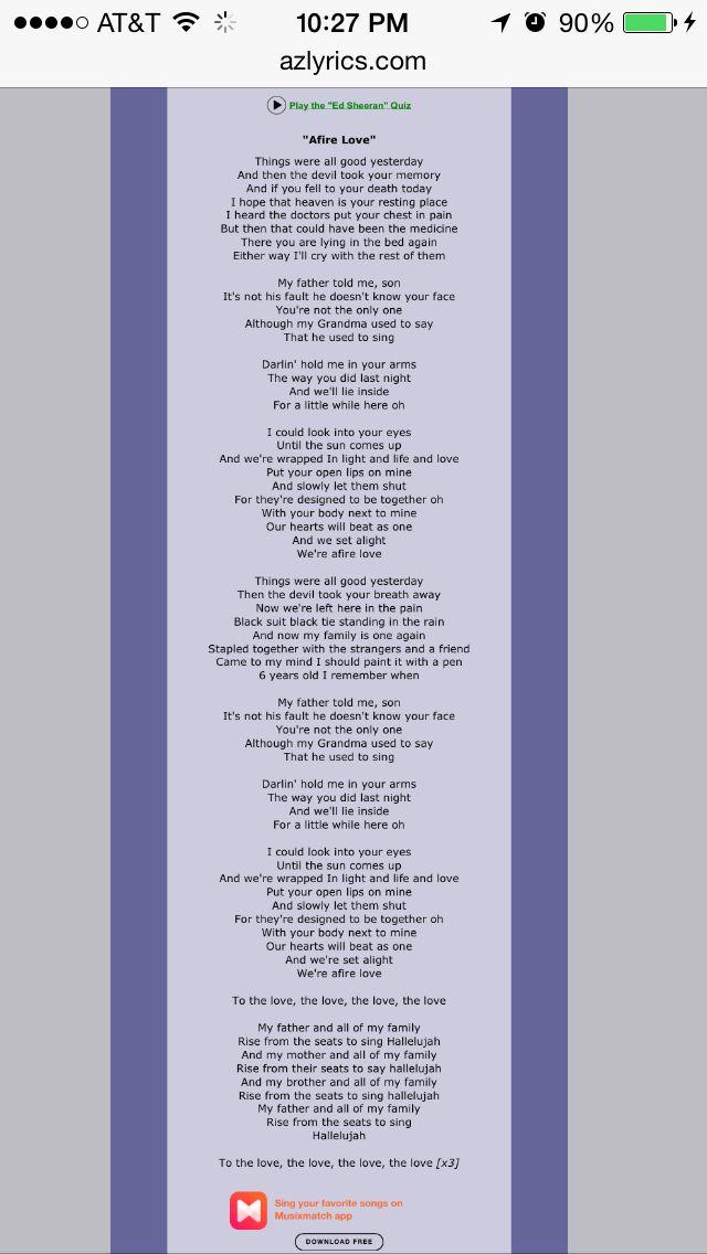 Afire Love - Ed Sheeran   Lyrics, Ed sheeran, Songs