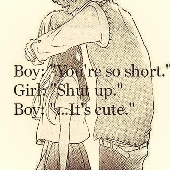 """Boy:""""you're So Short."""" Girl:"""" Shut Up."""" Boy:""""....it's Cute"""