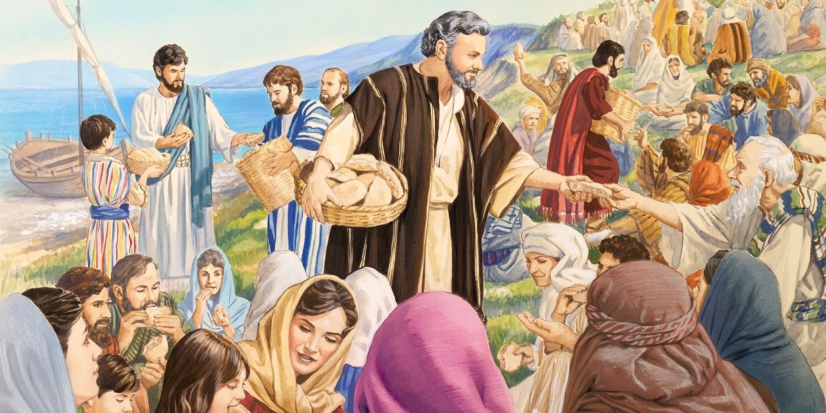 Jesus Divides Five Loaves And Two Fish Gives Them To His Disciples Distribute The People
