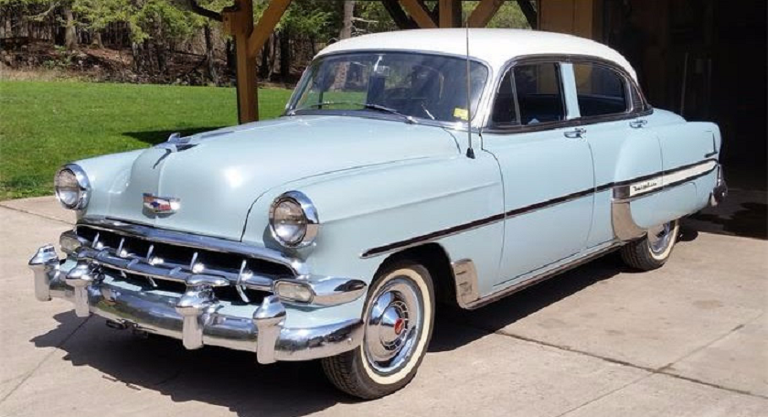 1954 chevrolet white over light blue bel air 4 door for 1954 belair 4 door