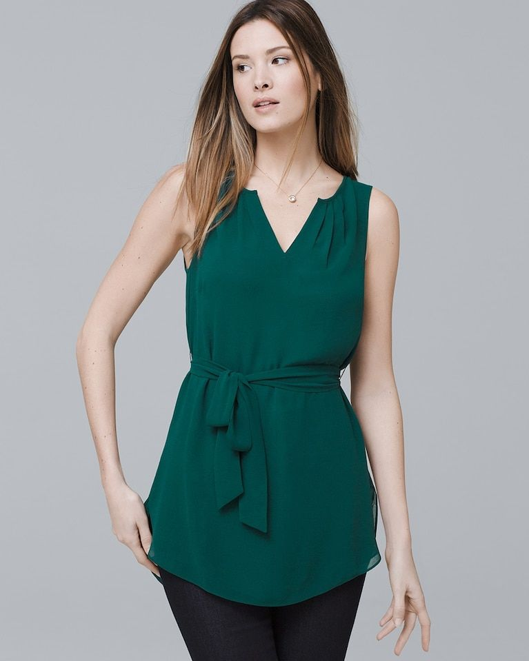 208aff054838b7 Women s Sleeveless Belted Blouse by White House Black Market ...